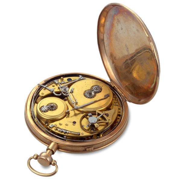 Vacheron Chossat & Cie Pink gold pocket watch, musical quarter-repeater, guilloché gold dial – 1816
