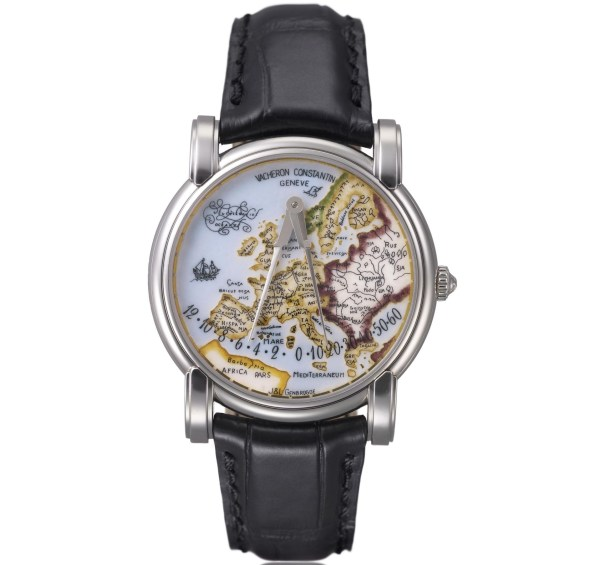 "Vacheron Constantin Bi-retrograde platinum ""Mercator"" wristwatches with champlevé enamel dial – 2001"