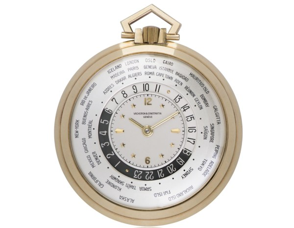 Vacheron Constantin Yellow gold World Time pocket watch, silver dial with day/night and 24-hour indication – 1949