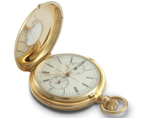 """Vacheron Constantin Yellow gold """"oeil-de-boeuf"""" hunter-type watch, minute repeater chronograph, enamel dial with 30-minute and small seconds counters – 1900"""