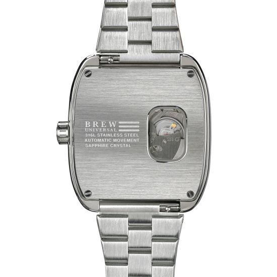 Brew Retromatic watch caseback seiko movement