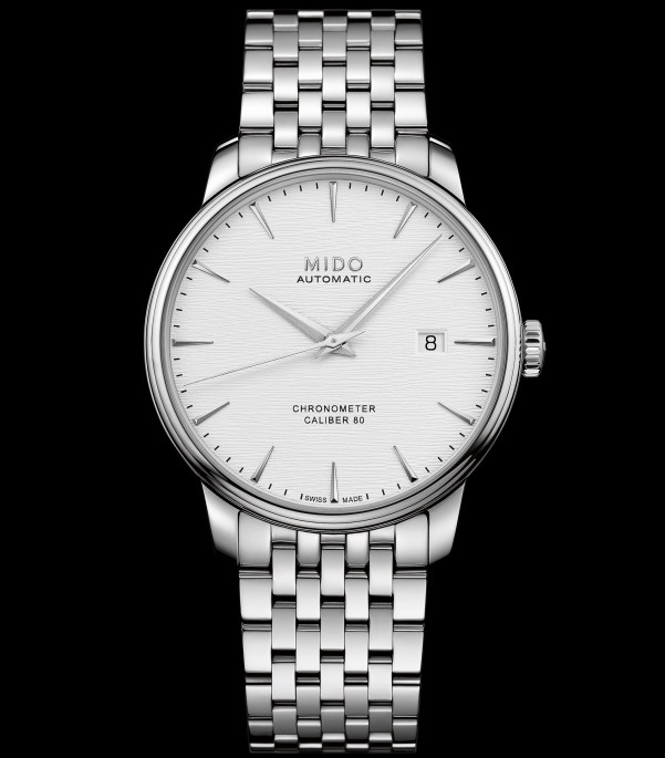 Mido Baroncelli Caliber 80 Chronometer Silicon, M027.408.11.031.00 (Stainless steel case and bracelet, Silvered dial)