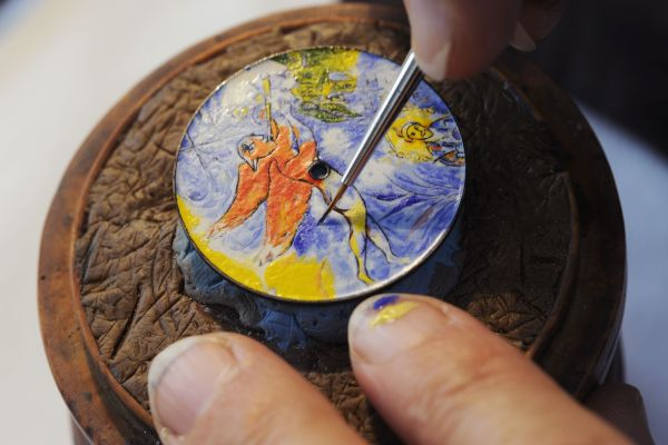 """Vacheron Constantin Métiers d'Art – Chagall & l'Opéra de Paris """"Tribute to famous composers"""" watch. Miniature enamel dial reproducing a detail from the ceiling of the Opéra de Garnier in Paris painted by Marc Chagall in 1964."""