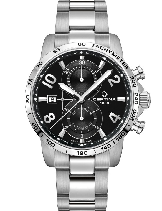 Certina DS Podium Automatic Chronograph New Model 2021 with Matt black dial, stainless steel strap