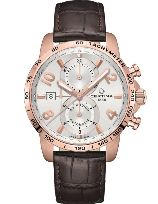 Certina DS Podium Automatic Chronograph New Model 2021 with Silver-coloured dial, red gold PVD case
