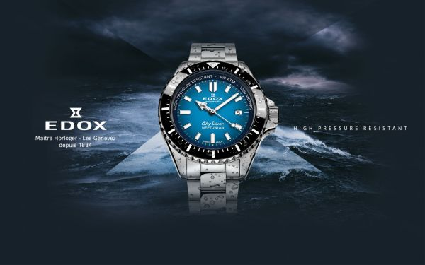 Edox Skydiver Neptunian Automatic diving watch 1000 meters water resistance