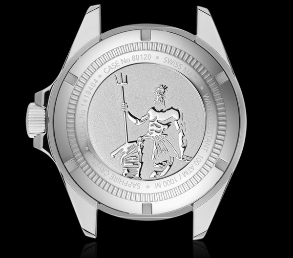 Edox Skydiver Neptunian Automatic watch case back
