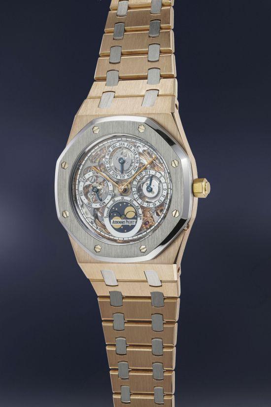 Audemars Piguet Royal Oak platinum and pink gold skeletonized perpetual calendar wristwatch