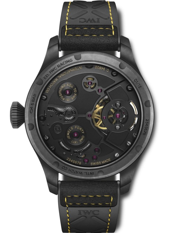 "IWC Schaffhausen Big Pilot's Watch Constant-Force Tourbillon Edition ""IWC Racing"" caseback view"