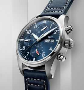 IWC Schaffhausen Pilot's Watch Chronograph 41, Ref. IW388101: Stainless steel case, blue dial, rhodium-plated hands, blue calfskin strap.