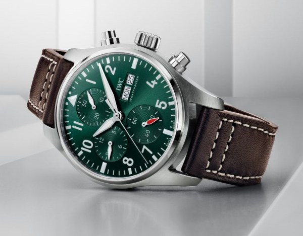 IWC Schaffhausen Pilot's Watch Chronograph 41, Ref. IW388103: Stainless steel case, green dial, rhodium-plated hands, brown calfskin strap.