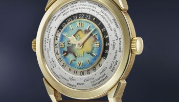 Patek Philippe Yellow Gold Reference 2523, Featuring Cloisonné Enamel Dial with Eurasian map
