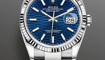 Rolex Oyster Perpetual Datejust 36, Reference 126234 (White Rolesor Version with Bright Blue Fluted Motif Dial)