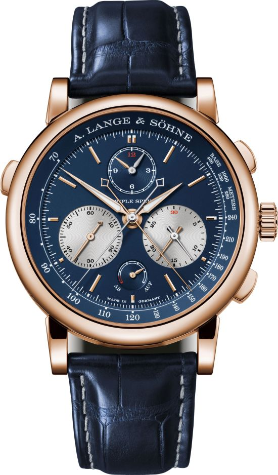 A. Lange & Söhne TRIPLE SPLIT New Model with Pink Gold Case and Blue Dial