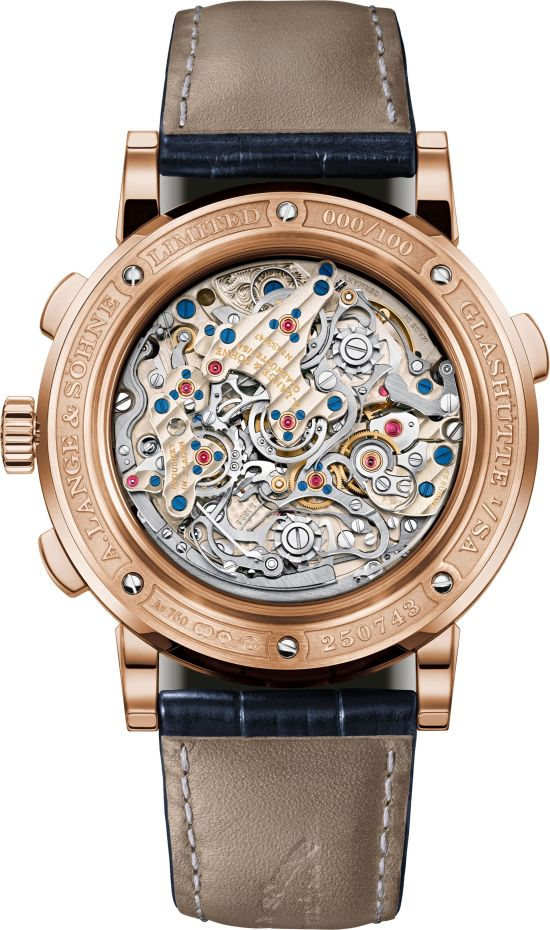A. Lange & Söhne TRIPLE SPLIT New Model with Pink Gold Case and Blue Dial caeback