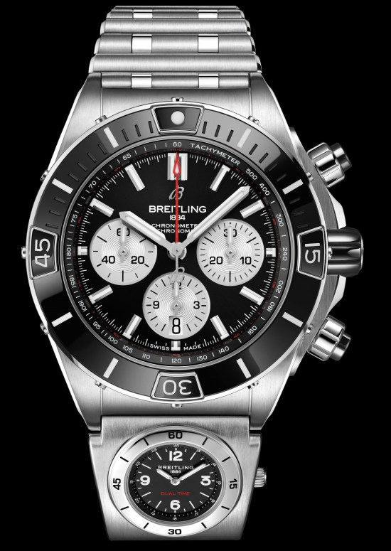 Breitling Super Chronomat B01 44 black dial version with second timezone module