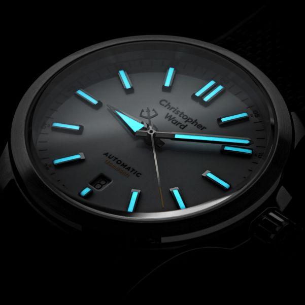 Christopher Ward C63 Sealander Automatic watch lume shot