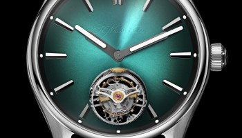 H. Moser & Cie. Pioneer Tourbillon MEGA Cool Limited Edition watch with green dial and strap