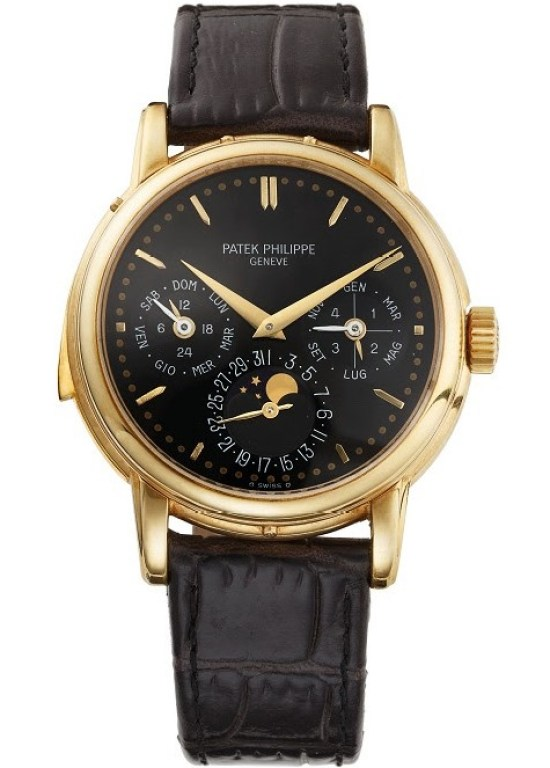 Patek Philippe reference 3974 yellow gold case black dial
