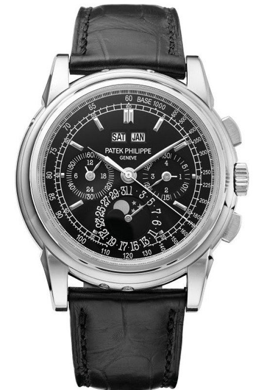 Patek Philippe reference 5970 platinum perpetual calendar chronograph wristwatch with moon phases, 24-hour indication