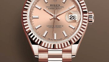 Rolex Lady Datejust Reference 279175-0025: Everose gold case with fluted bezel, Rosé-colour dial with 18-carat gold index hour markers, President Bracelet. Image copyright@ Rolex
