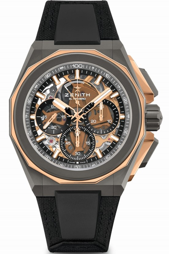 Zenith DEFY EXTREME Chronograph with Microblasted titanium and polished rose gold case and velcro strap