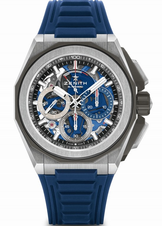 Zenith DEFY EXTREME Chronograph with Brushed, polished and microblasted titanium case and rubber strap