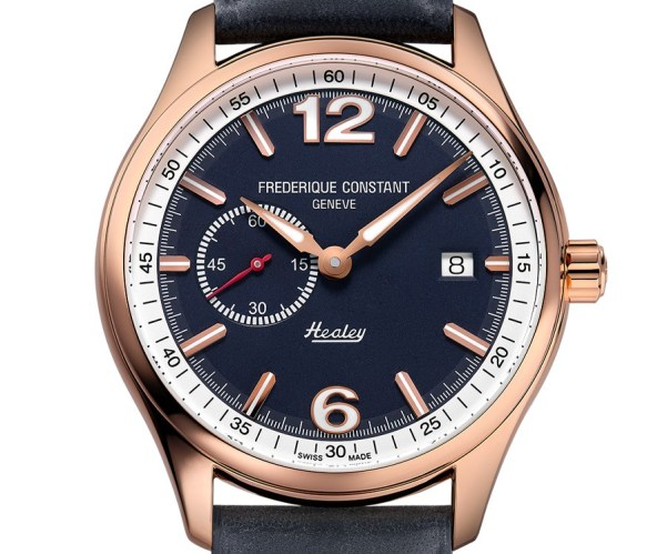 Frederique Constant Vintage Rally Healey Automatic Small Seconds watch golden case with blue dial