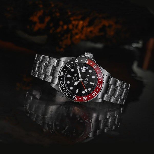 DAVOSA Ternos Professional TT GMT Automatic watch with red and black bezel