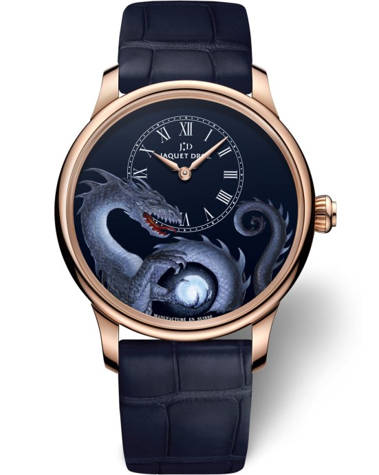 """Jaquet Droz Petite Heure Minute """"Dragon"""" watch with red gold case"""