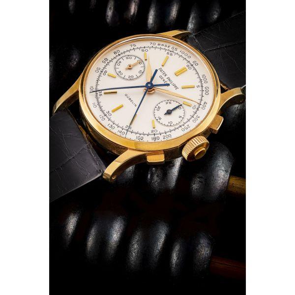 Patek Philippe 18k gold split seconds chronograph wristwatch retailed by Gübelin, ref. 1436