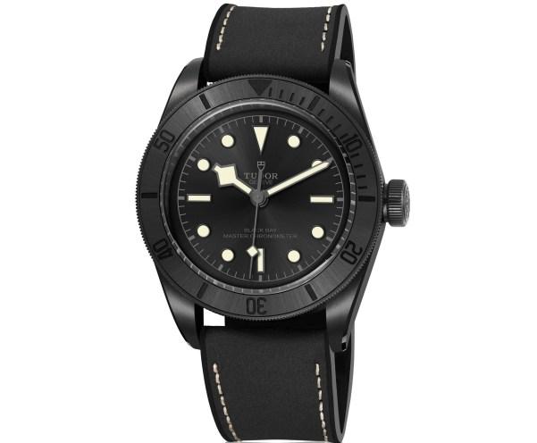 Tudor Black Bay Ceramic watch with hybrid leather strap