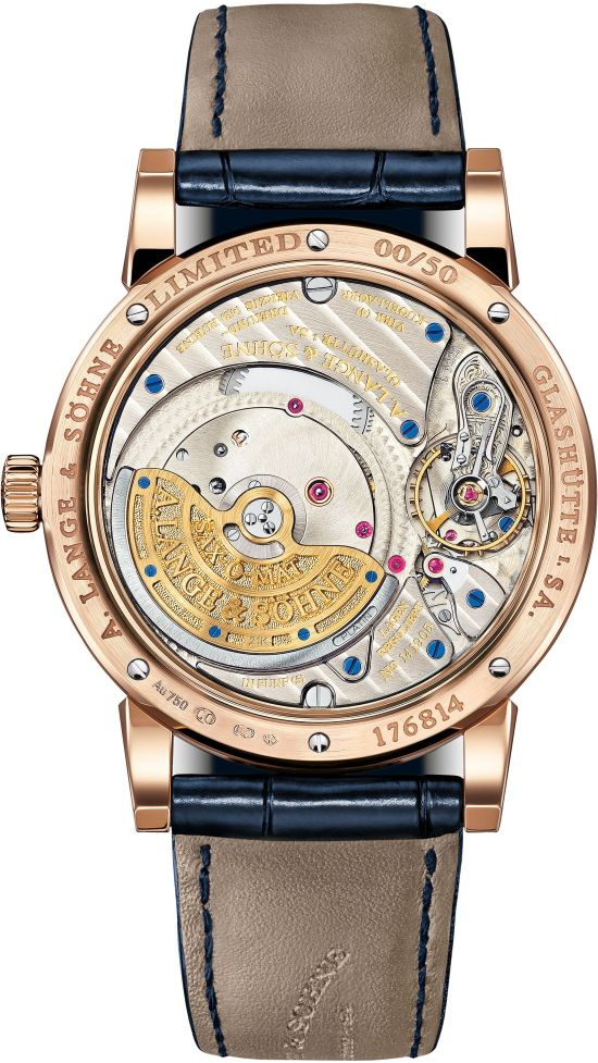 A. Lange & Söhne Langematik Perpetual, New Blue Dial Edition watch case back view pink gold