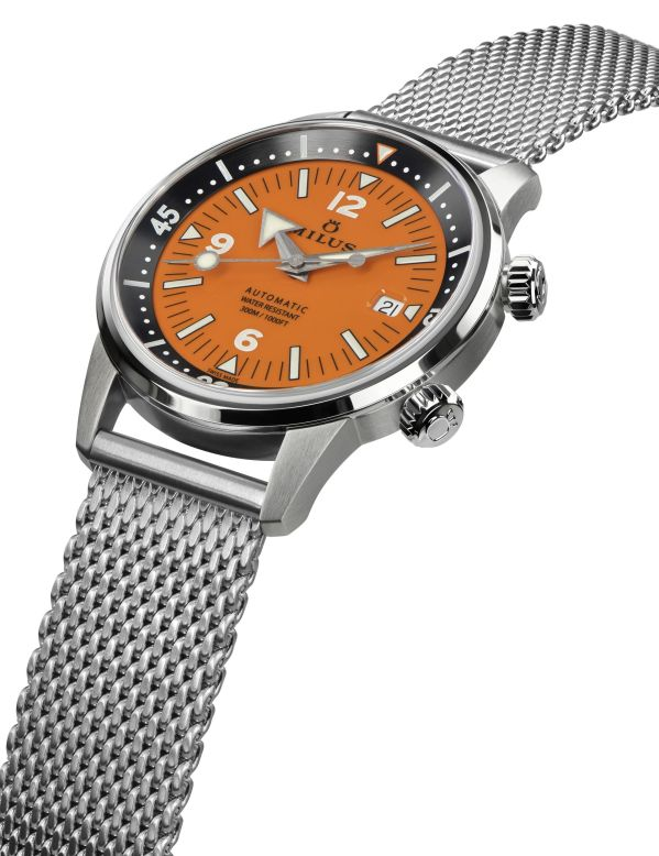 Archimèdes by Milus Orange Coral Limited Edition watch with mesh bracelet