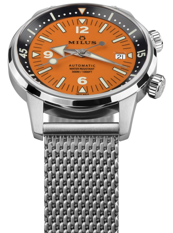 Archimèdes by Milus Orange Coral Limited Edition diving watch with mesh bracelet