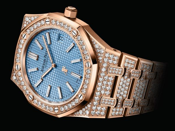 Audemars Piguet Royal Oak Jumbo Extra-Thin watch with Diamond-set Pink Gold Case and Light blue Petite Tapisserie dial