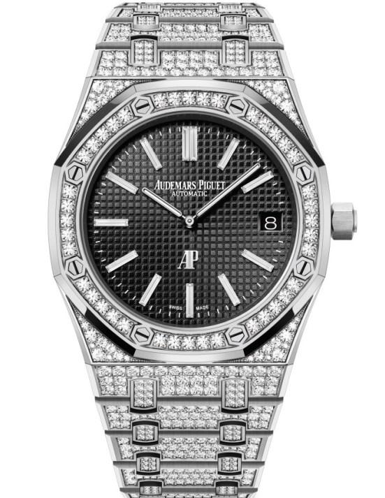 Audemars Piguet Royal Oak Jumbo Extra-Thin watch with Diamond-set White Gold Case and Black Petite Tapisserie dial