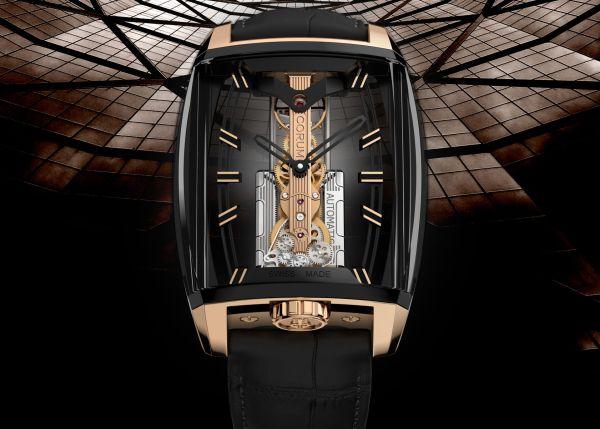 Corum 10th Anniversary Golden Bridge Automatic Collection titanium case with gold crown