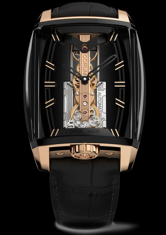 Corum 10th Anniversary Golden Bridge Automatic watch with black DLC case and 18K rose gold crown and horns