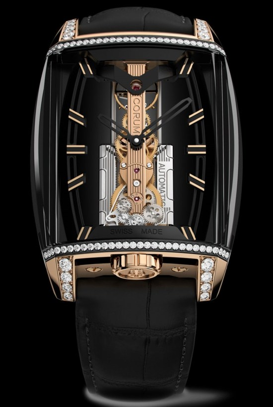 Corum 10th Anniversary Golden Bridge Automatic watch with black DLC case, diamond-set and 18K rose gold crown and horns