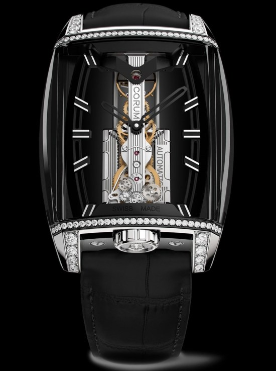 Corum 10th Anniversary Golden Bridge Automatic watch with black DLC case, diamond-set and 18K white gold crown and horns