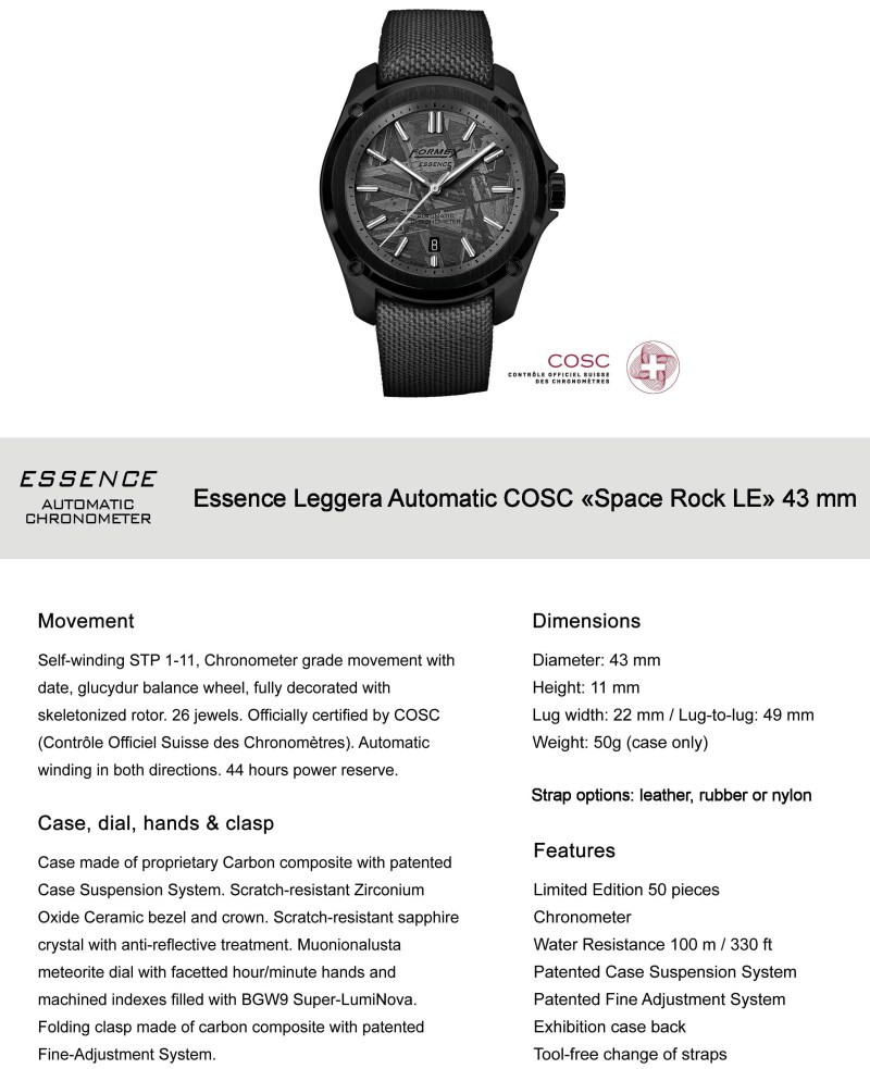 Formex Essence Space Rock Automatic Chronometer COSC Limited Edition