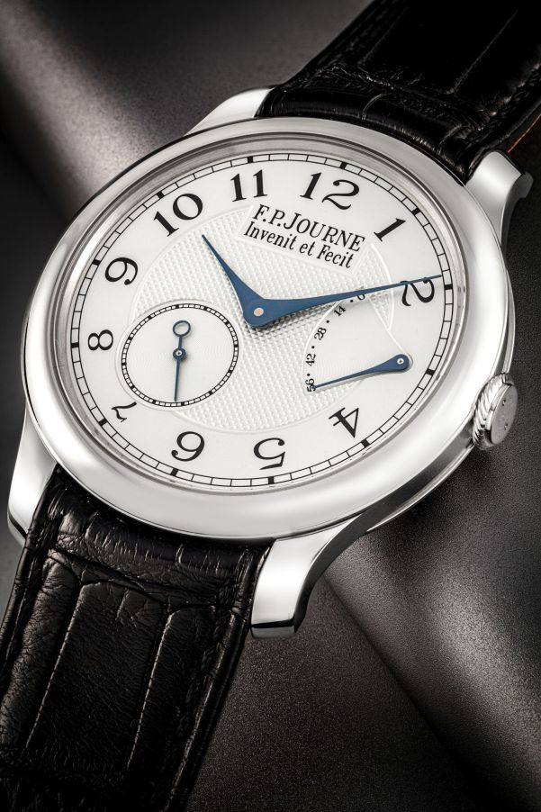F.P. JOURNE. PLATINUM WRISTWATCH, MADE AND PRESENTED TO PAY TRIBUTE TO GEORGE DANIEL. Chronometre Souverain