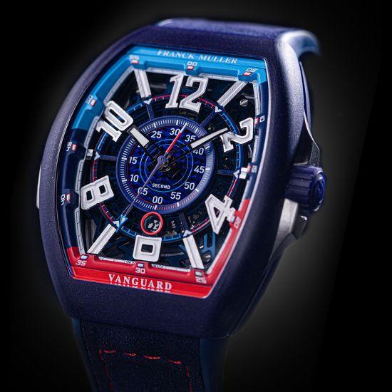 Franck Muller Vanguard™ Racing Skeleton Bill Auberlen Limited Edition watch Macro molecular Technologie Bleu