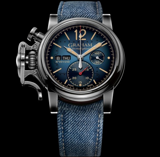GRAHAM Chronofighter Vintage Aircraft Ltd watch with blue dial and blue denim strap