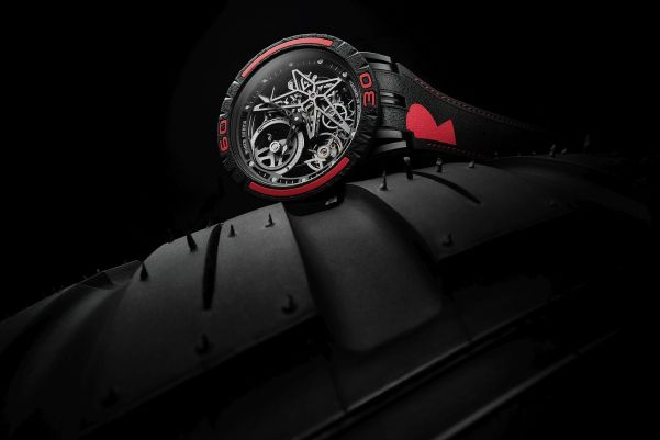 Roger Dubuis New Excalibur Spider Pirelli watch with red bezel