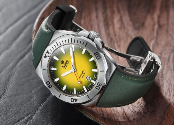 Tutima Glashütte M2 Seven Seas S with Yellow dégradé dial and color-coordinated two-component strap made of leather and rubber (reference 6155-09)