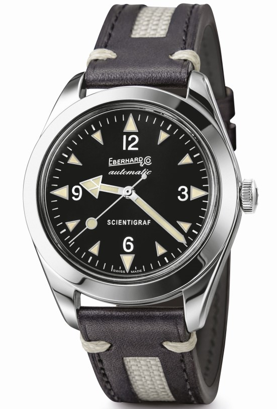 Eberhard & Co. 'Scientigraf'  watch with leather strap