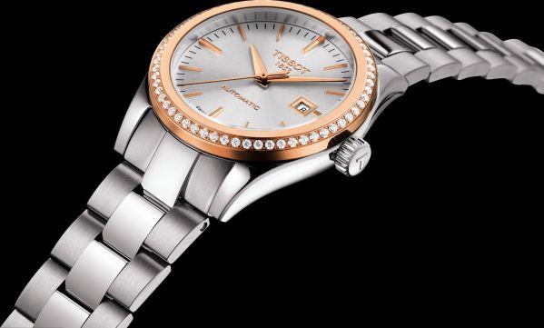 Tissot T-My Lady Automatic watch with diamond set gold bezel