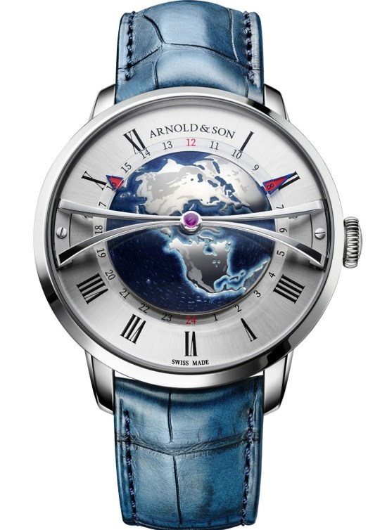 Arnold & Son Globetrotter Steel watch with opaline dial